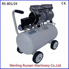 24L 1hp electric piston oil free air compressor with horizontal tank silent oil