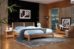Simple practical bamboo furniture bedroom hotel double beds