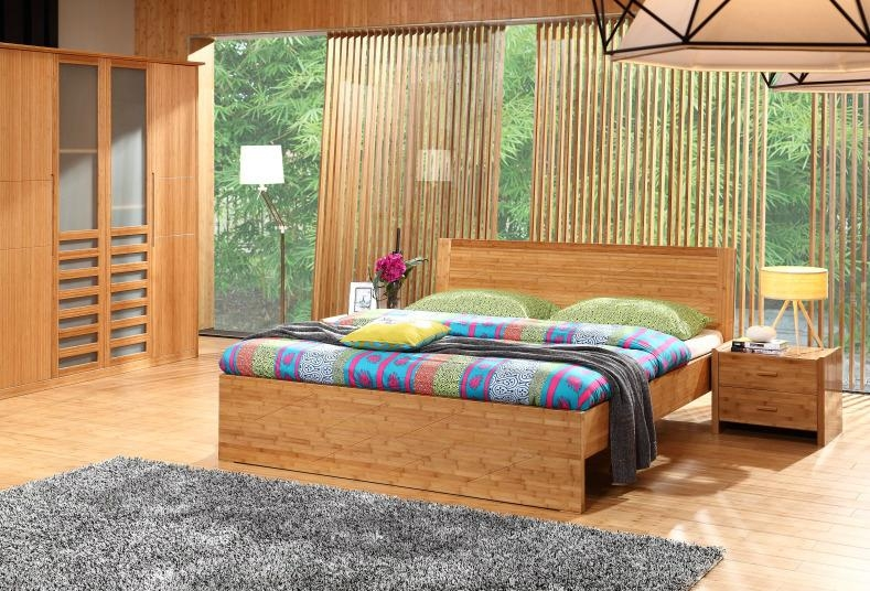 Simple practical bamboo furniture bedroom hotel double beds ...