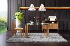 Modern simple bamboo furniture glass dining table