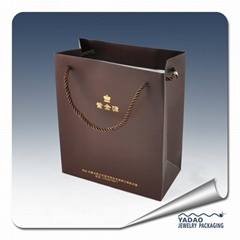 Custom paper shopping bag for gift and jewelry packaging