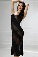 Sheer Mesh Stripes Long Dresses Night Gown By Eve's Night