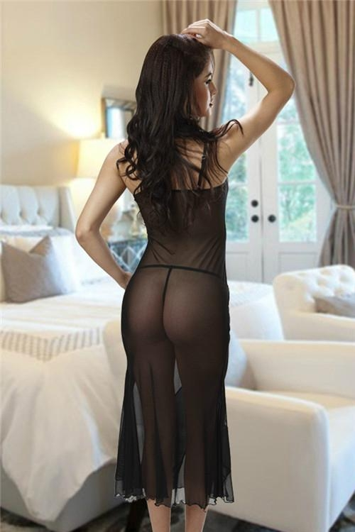 Sheer Mesh Stripes Long Dresses Night Gown By Eve's Night 2