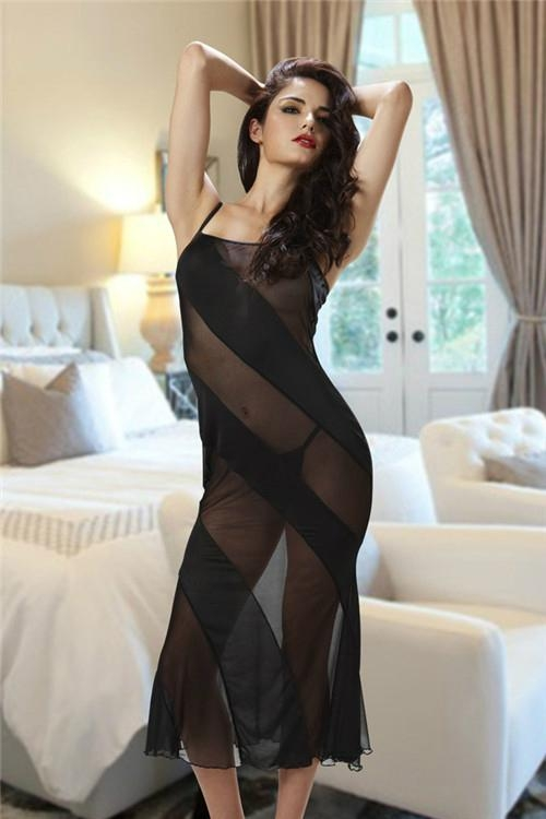 Sheer Mesh Stripes Long Dresses Night Gown By Eve's Night 3