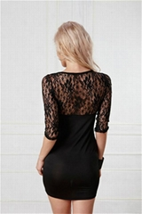 Vintage Slinky Lace Long Sleeve Pencil Dress By Eve's Night