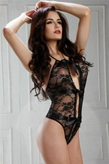 Floral Lace Halter Bow Black Teddys Sexy Underwear By Eve's Night