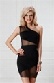 Mesh Black One Shoulder Mini Club Dress
