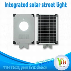 12W LED with 18W solar panel integrated solar street light