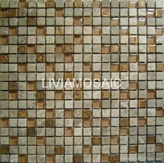 Brown crystal resin and marble mix mosaic kitchen mosaic tile