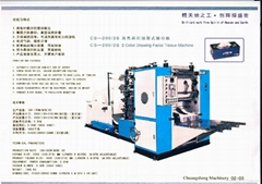 Drawing facial tissue machine