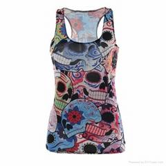 女士时尚3D印花修身背心打底衫