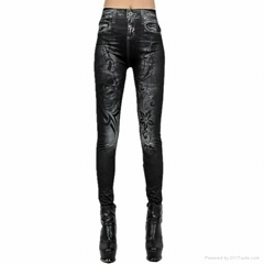 Women's Fashion Bodycon Skinny  Imitation Jeans Pants Casual Print leggings