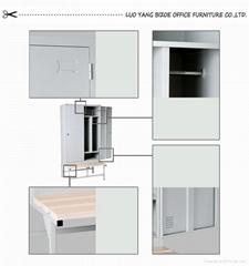 modern grey blue steel locker  wardrobe with bench