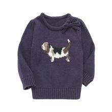 kids intarsia dog with bow pullover sweater