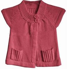 girls short sleeves front slit short dress cardgian