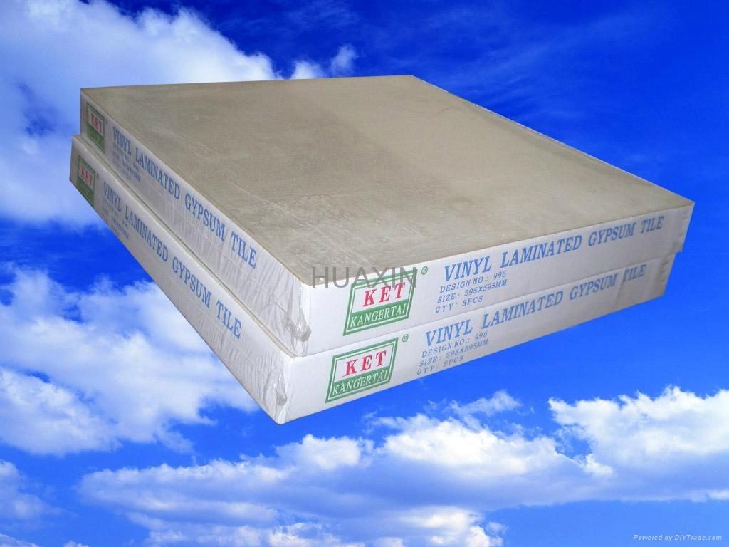 Vinyl faced gypsum false ceiling boards in drywall
