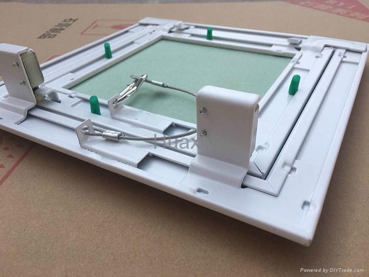 Access doors for ceiling repair work with waterproof gypsum board inside