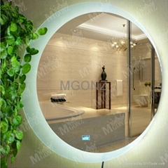 Mgonz with touch switch led anti-fog bathroom mirror circle wall mirror