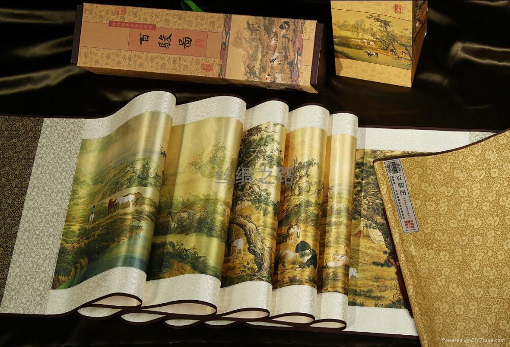 《百駿圖》絲綢珍品畫 1