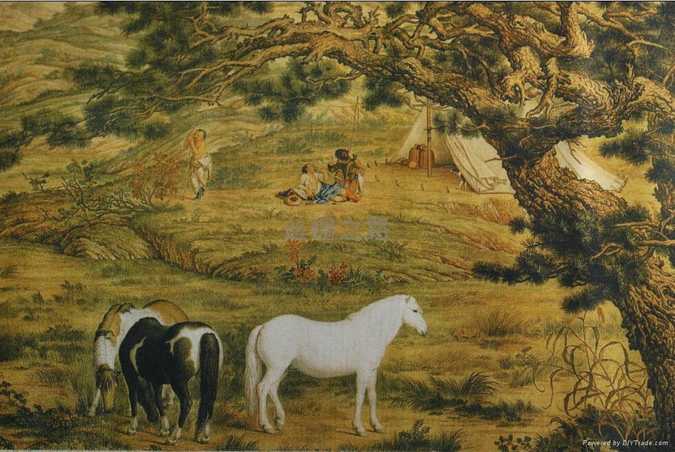 《百駿圖》絲綢珍品畫 3