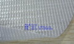 抗UV阻燃耐寒防撕裂PVC透明夾網布快速捲簾門布