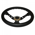 Steering Wheel with Leather Cover Aluminum Frame and Car Tunning Accessories Rac