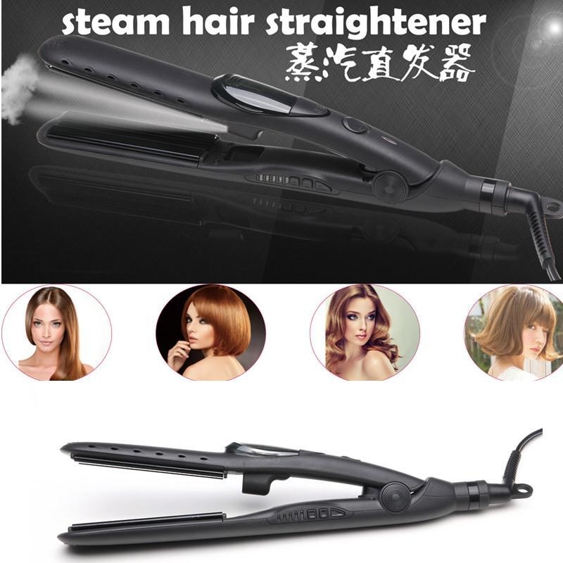 2IN1 BLACK STEAM HAIR STRAIGHTENER NANO TITANIUM-PLATED  1
