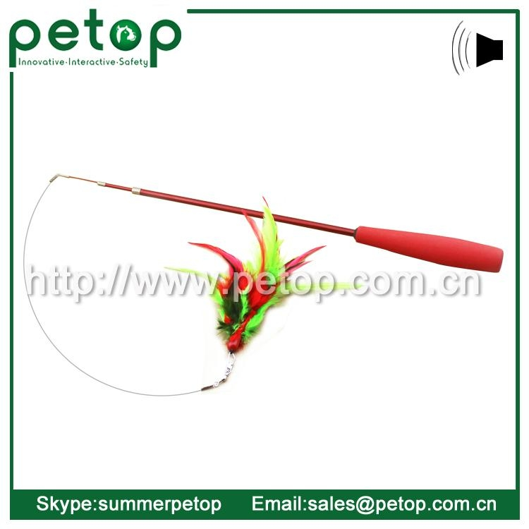 Telescoping Fishing Rod Spin Feather Wand Cat Toy 2