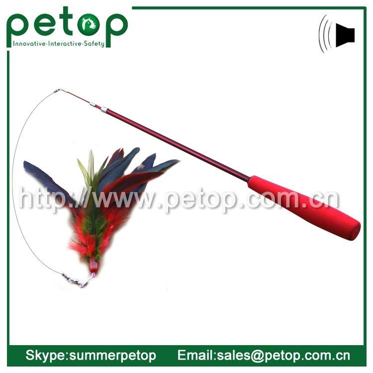 Retractable Bird Feather Cat Teaser Wand 2