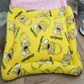 Yellow cartoon square soft warm dog bed