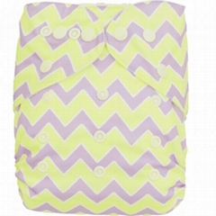 One Size Cute Bamboo Fitted Diaper Sewn With 3-layer Bamboo Insert