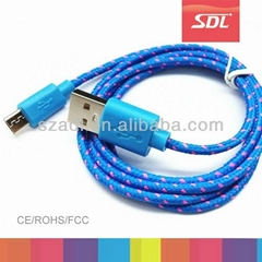 SDL 10 colors Nylon fabric braided usb cable for iphone samsung HTC