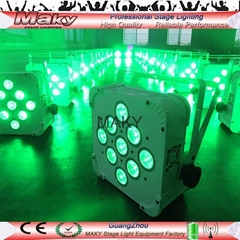 9leds x18w RGBAW+UV 6 colors wireless dmx par light  led flat par can