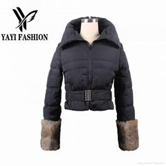 Wholesale Price Short Style Black Fashion Winter cotton padded Coat 2014 new arr