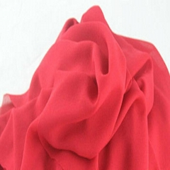 100% Polyester Pearl Chiffon Fabric Dyed with Red color
