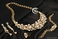 New 18 k Gold pearl austrian Crystal Necklace Bracelet Earring Ring Jewelry Set 2