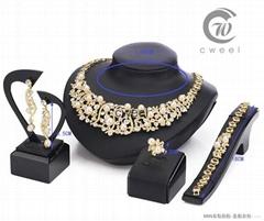 New 18 k Gold pearl austrian Crystal Necklace Bracelet Earring Ring Jewelry Set