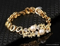 New 18 k Gold pearl austrian Crystal Necklace Bracelet Earring Ring Jewelry Set 5