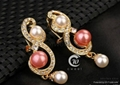 New Fashion 18k Gold pearl Peacock Necklace Earring Ring Wedding Jewelry Set 5