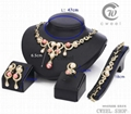New Fashion 18k Gold pearl Peacock Necklace Earring Ring Wedding Jewelry Set 1