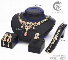 New Fashion 18k Gold pearl Peacock Necklace Earring Ring Wedding Jewelry Set