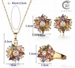 Cooper Multicolor zircon Flower Earrings Necklace Ring Fashion Jewelry set