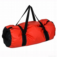 red waterproof large dry bag with two shoulder strap
