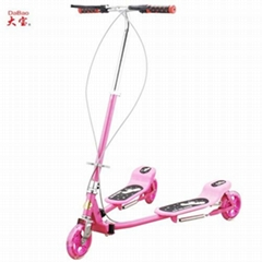 Adult frog kick scooter with three wheels
