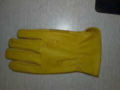 golden yellow leather glove