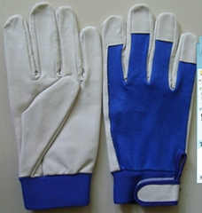 Back cotton leather glove