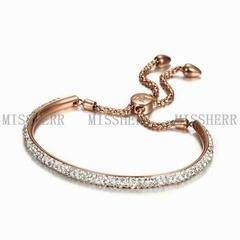 Rose gold elastic fabric chain link bracelet gifts for women NSB703STRGZD