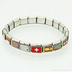 316L stainless steel national flag charm bracelet
