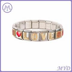 316L stainless steel Italian charm bracelet