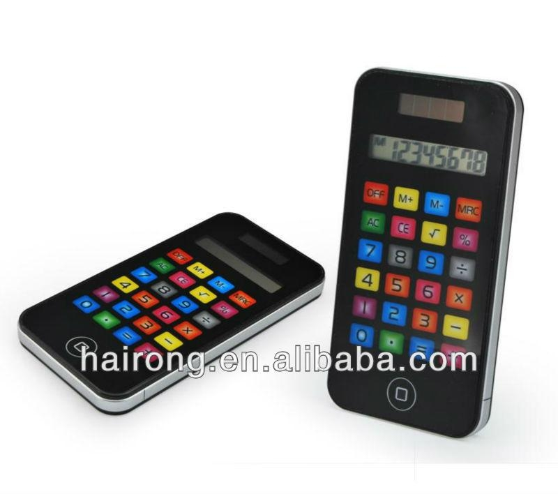 Hairong 8 digits Iphone shape solar power pocket calculator for promotion gift 1